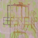 Title: Observation Tower Date Completed: 2008 Medium: Oil and pencil on canvas Dimensions: 20″ x 16″
