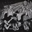 """Church of the Living Streets, 2011, relief print, 9"""" x 12"""""""