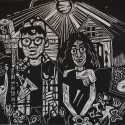 """O Pioneers!, 2012, relief print, 9"""" x 12"""""""