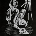 """Mr. Comedy Craps Out, 2012, relief print, 12"""" x 9"""""""
