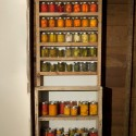 """Canning Shelf for 3341 Burnside,  2012, wood, jars and  vegetables, 30"""" x 11"""" x 86"""". Collaborative piece with Patrick Costello. Photo: PD Rearick"""